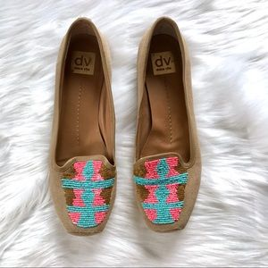 DOLCE VITA Pink Aqua Beaded Oakes Slip On Loafers